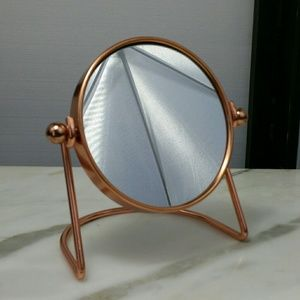 SMALL COPPER TONE 2 SIDED MIRROR TABLETOP VANITY